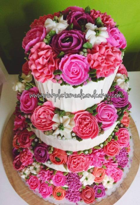 floral buttercream wedding cake